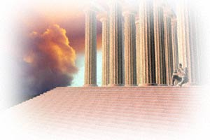 3D rendering of distant thinker on steps of Greek temple and sunset clouds